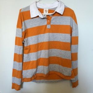 Orange and gray striped long sleeve